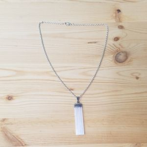 Jupiter's Shadow Jewelry - Silver dipped white selenite crystal necklace